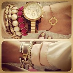 Handpicked Bracelet, Nordstrom Bracelet, David Yurman Bracelet, Hermes Bracelet, and Michael Kors Watch