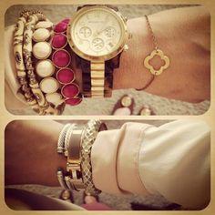 Handpicked Bracelet, Nordstrom Bracelet, David Yurman Bracelet, Hermes Bracelet, and Michael Kors Watch
