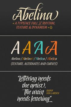 Abelina - Script Font from Sudtipos 'Abelina' is a calligraphic script font that can be used for headlines and titles in large display sizes. Check out more information about theAbelina font on WE AND THE COLOR or buy it on MyFonts.com Find WATC on:FacebookITwitterIGoogle+IPinterestIFlipboardIInstagram