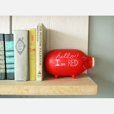 Red Chalk Piggy Bank, now featured on Fab.