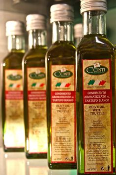 Conti Olive Oil with White Truffle ... An elegant and decadent addition to your pasta, risotto, mashed potatoes, baked potatoes or steak.