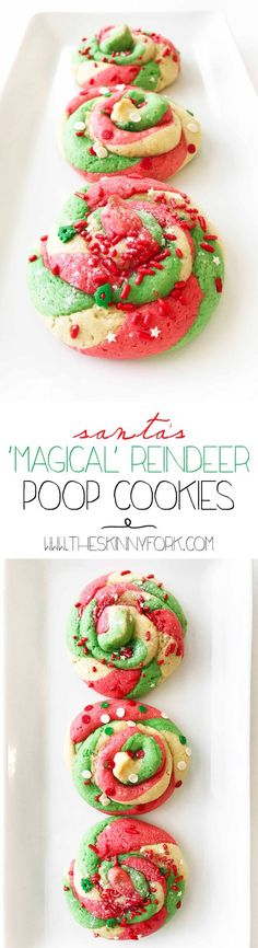 Unicorn Poop? How about Santa's 'Magical' Reindeer Poop Cookies! As sparkly and colorful as Unicorn Poop Cookies, but with more holly and jolly. Not only are these cookies cute, they're made with less sugar and even some whole wheat! TheSkinnyFork.com | Skinny & Healthy Recipes