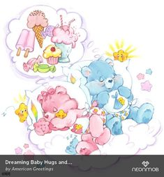 Dreaming Baby Hugs and Baby Tugs by American Greetings (americangreetings), from the Series Care Bears: Classics, on NeonMob 1980s Childhood, Childhood Memories, Care Bear Tattoos, Care Bears Vintage, Care Bear Party, Baby Hug, Up Book, Dream Baby, Bear Wallpaper