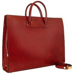 Ladies' Polished Dark Brown Leather Classic Briefcase. This is a fantastic look.