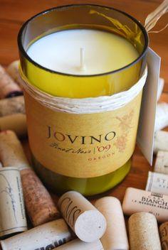 Jovino Oregon Pinot Noir upcycled wine bottle soy candle $16 Soy Candles, Candle Jars, Oregon Pinot Noir, Upcycled Textiles, Craft Day, Wine Bottles, Craft Fairs, Creative Ideas, Artisan