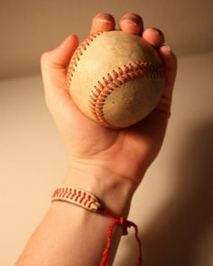 Homemade bracelet from old baseball    (If D gets into baseball I would like to do this for the ball from his first game)