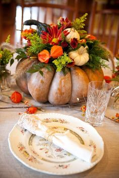 2014 Thanksgiving rustic bouquets centerpiece - table setting, pumpkin  #2014 #Thanksgiving