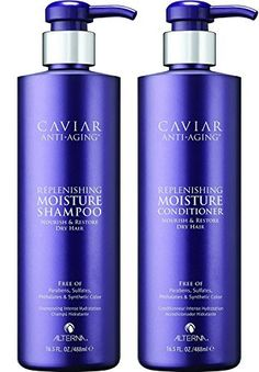 (Product review of Alterna Caviar Anti-Aging Replenishing Moisture DUO: Shampoo and Conditioner (16.5 oz Each)) -  Alterna Caviar Anti-Aging Replenishing Moisture Shampoo attracts, retains and rebalances moisture while protecting color, and improving the overall performance of dry, brittle hair. Formulated with Seasilk, Color Hold and UVA/UVB protection to shield from color fade, daily stresses and future...