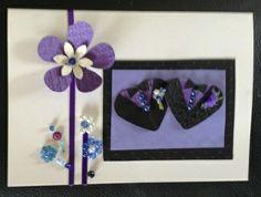 Wedding congratulations: two men or women in tuxedos - black & purple (2)