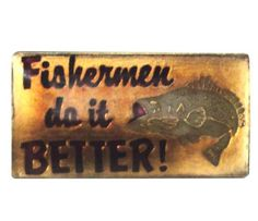 """FISHERMAN Do iT BETTER vintage enamel pin fishing trophy fish bass lapel cloisonne hat tie pin by VintageTrafficUSA  11.00 USD  A vintage FISHING pin! Excellent condition. Each measures: approx 1"""" 20 years old hard to find vintage high-quality cloisonne lapel/pin. Beautiful die struck metal pins with colored glass enamel filling. -------------------------------------------- SECOND ITEM SHIPS FREE IN USA!!! LOW SHIPPING OUTSIDE USA!! VISIT MY STORE FOR MORE ITEMS!!! http://ift.tt/1PTGYrG…"""