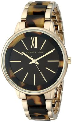 Anne Klein Women's AK/1812BNTO Gold-Tone and Tortoise Bracelet Watch *** Details can be found by clicking on the image.