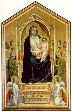 Giotto, Early Renaissance- Ognissanti Madonna, (c. Tempera on wood, 325 x 204 cm Uffizi, Florence Die Renaissance, Italian Renaissance Art, Renaissance Kunst, Renaissance Artists, Renaissance Paintings, Galerie Des Offices, Italian Paintings, Late Middle Ages, Madonna And Child