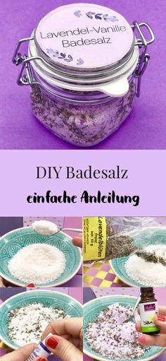 Lavendel Badesalz selber machen. So einfach macht Ihr Euch DIY Kosmetik selbst. Badesalz mit Lavendel und Vanille Duft selber machen. Einfaches Rezept und Schritt für Schritt Anleitung mit Video zum nachmachen.