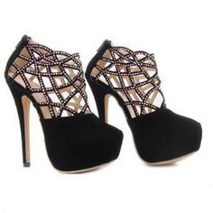 $17.20 Gorgeous Women's Pumps With Rhinestones and Openwork Design
