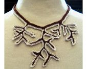 Snowy Trees Crochet Statement Necklace - Wearable Art Bib Necklace is featured in the treasury - Cabin Fever!