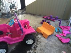 All the pieces to be painted after taking the Barbie Power Wheels Jeep apart.