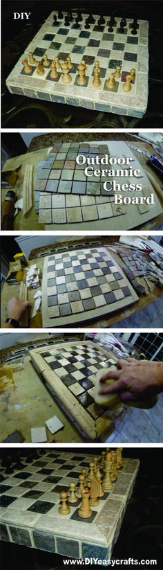 DIY Ceramic Tile Outdoor Chess Board. www.DIYeasycrafts.com