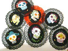 skull fabric brooch $6.95 each