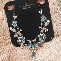 ZARA crystal statement necklace Gorgeous blue, white and silver crystals. Mint condition. Looks gorgeous w any outfit, whether it's dressing up or down Zara Jewelry Necklaces