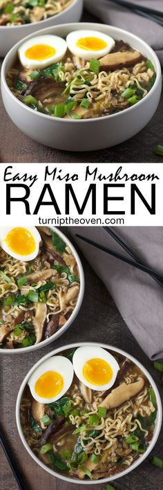 vegan option on this one. This easy and healthy miso mushroom ramen is vegetarian (with a vegan option). You can make it in under an hour using only 10 supermarket-friendly ingredients! Soup Recipes, Dinner Recipes, Cooking Recipes, Dinner Ideas, Turnip Recipes, Spinach Recipes, Asian Recipes, Healthy Recipes, Ethnic Recipes