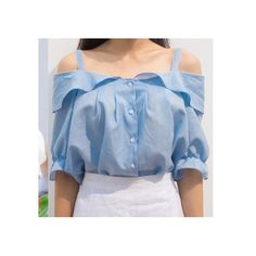 Ruffled Collar Button-Front Off-Shoulder Blouse ($31) ❤ liked on Polyvore featuring tops, blouses, pintuck blouse, blue off the shoulder top, off the shoulder blouse, off the shoulder tops and button down blouse