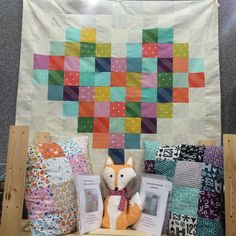 Our new heart quilt shows off our range of Cotton+Steel basics and in front are our latest cushion kits. And of course The Fabric Fox himself has snuck in too!