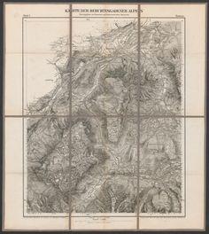 Karte der Berchtesgadener Alpen; Rar K 204: 1 Old Maps, Vintage World Maps, Printing, Draw, Old Cards