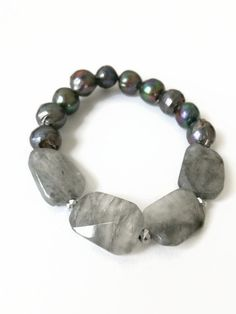 Cloudy Quartz and Black Pearl Stretch Bracelet Black Pearl Beaded Bracelet Gray Quartz Bracelet Black Fresh Water Pearls Jewelry (ST39) by JulemiJewelry on Etsy https://www.etsy.com/listing/202641759/cloudy-quartz-and-black-pearl-stretch