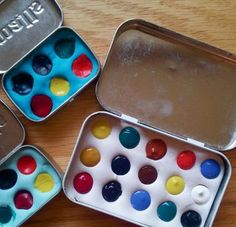 DIY water color altoid tins with spaces made from polymer clay