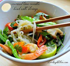 coconut lime noodle bowl with shrimp - shiritaki noodles