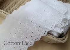 "14Yds Broderie Anglaise cotton eyelet lace trim 5.1""(13cm) White YH1037 laceking by Laceking on Etsy"