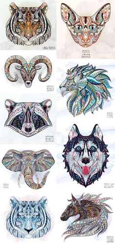 ethnic patterned animal head totem tattoo design t shirts 19 vector - PIPicStats Elephant Tattoos, Animal Tattoos, Trendy Tattoos, Cool Tattoos, Animal Drawings, Art Drawings, Painting & Drawing, Totem Tattoo, Animal Heads