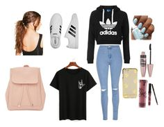 """""""Cute casual teen look. Perfect for back to school or new adventures!!"""" by putterfly ❤ liked on Polyvore featuring Glamorous, Topshop, adidas, Boohoo, Maybelline, Kylie Cosmetics and New Look"""