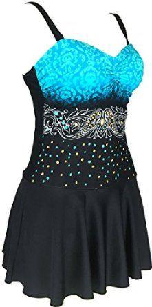 156eb0c60f02b Amazon.com: Danify Women's Plus Size Swimdress One Piece Cover Up Swimsuit  Tankini Beachwear