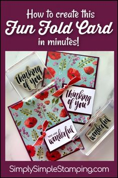 Connie Stewart offers card making tutorials and videos in a simple stamping style. Get your card making and scrapbooking supplies through the online store. Card Making Tips, Card Making Tutorials, Card Making Techniques, Making Ideas, Fun Fold Cards, Cool Cards, Folded Cards, 3d Cards, Poppy Cards
