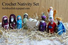 Shepherds, The 3 Wise Men, Angel, free crochet Pattern figure Nativity Set - scroll way down to the bottom for the free pattern. I think this is in UK terms? Crochet Christmas Ornaments, Holiday Crochet, Christmas Nativity, Christmas In July, Xmas, Crochet Crafts, Crochet Dolls, Crochet Projects, Free Crochet