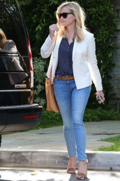 Reese Witherspoon wearing Stella McCartney Wood 0sm4051 Sunglasses, Michael Kors Large Miranda Leather Bucket Bag, Mother Looker Skinny Ankle Fray Jeans in Welcome to Paradise and Manolo Blahnik Lauratopri Sandals in Cognac
