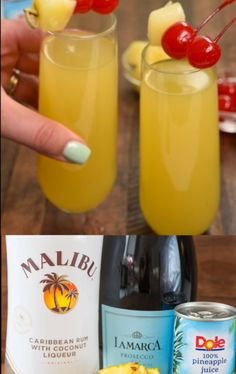 Hawaiian Mimosas - this easy cocktail recipe has just three ingredients. Pineapple, Rum, and Champagne is all it takes to make this delicious cocktail! Beach Drinks, Party Drinks, Summer Drinks, Fun Drinks, Alcoholic Drinks, Drinks With Malibu Rum, Malibu Rum Drinks, Beverages, Easy Cocktails