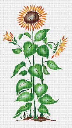 Sunflower Cross Stitch Pattern, Sunflower Pattern, Flower Cross Stitch, Cross Stitch Sunflower, Floral Wall Art    PDF PATTERN ONLY       Fabric:
