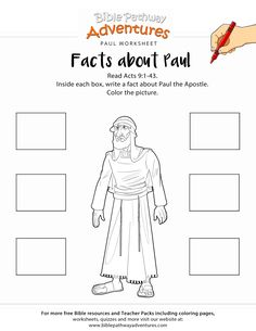 Free Bible coloring worksheet: Facts about Paul. Printable Bible activity sheet for Homeschoolers, Sunday School and Sabbath School students.