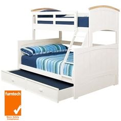 Ranch Wooden Single Bunk Bed with Trundle Trio Bunk Beds, King Single Bunk Beds, Dog Bunk Beds, Bunk Bed With Trundle, Childrens Bedroom Furniture, Kids Bedroom, Bunk Beds Australia, Big Girl Rooms, Ranch