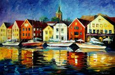 NORTHERN HARBOR - PALETTE KNIFE Oil Painting On Canvas By Leonid Afremov http://afremov.com/NORTHERN-HARBOR.html?utm_source=s-pinterest&utm_medium=/afremov_usa&utm_campaign=ADD-YOUR