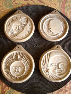 Vintage Hartstone Cookie Molds, Ohio Pottery - Celestial - (I have this set of molds and LOVE them!)