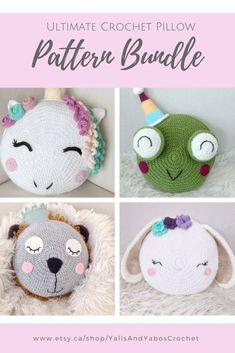 Crochet Owl Pillows, Crochet Cushion Cover, Crochet Pillow Pattern, Baby Pillows, Crochet Patterns Amigurumi, Crochet Toys, Cute Crochet, Crochet For Kids, Crochet Baby