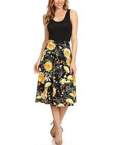 Black & Yellow Floral Empire-Waist Midi Dress #zulily #zulilyfinds