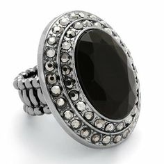 Palm Beach Jewelry Black and Grey Crystal Stretch Ring
