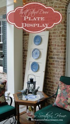 Thrift Store Door {Plate Display}   I LOVE AS I HAVE SO MANY PLATES FROM AROUND THE  WORLD I HAVE HAD FOR YEARS!!!!