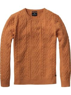 Colourful cable knitted crew neck pull - Pulls - Scotch & Soda Online Shop