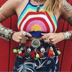 Hopeful for some sunshine and rainbows on these torrential stormy Miami days! Who's the sunshine on your gloomy day? Tag them and let us know. we want to meet them! Top Tejidos A Crochet, Crochet Belt, Crochet Top, Easy Crochet, Bohemian Style Clothing, Bohemian Girls, Boho Style, Unique Fashion, Boho Fashion