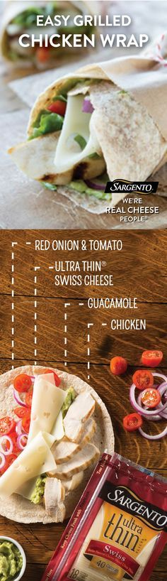 Did you know that our Ultra Thin® cheese slices only have 45 calories per slice? Which makes them the perfect topping for these delicious veggie chicken wraps. For the complete recipe visit Sargento.com.